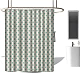 Qenuan Home Decor Shower Curtain by Turquoise,Retro Cross Pattern Abstract Geometric Plus Figure Oval Frame Design Vintage,Ivory Seafoam,Clear Metal Thick Bathroom Shower Curtains 36'x72'