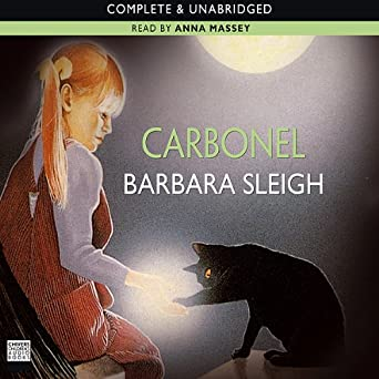 Carbonel audiobook cover. A little blonde girl with pigtails touches the magical paw on a black cat.