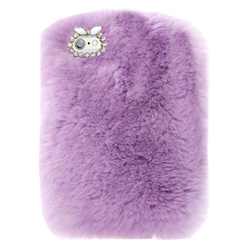Fuzzy Beaver (iPad 9.7 2018/2017 Case,Super Deluxe Luxury Winter Fashion Bling Rhinestone Fuzzy Faux Rabbit Furry Fluffy Beaver Rex Rabbit Fur Protective Case for Apple iPad 9.7 iPad 5th/6th Generation(LightPurple))