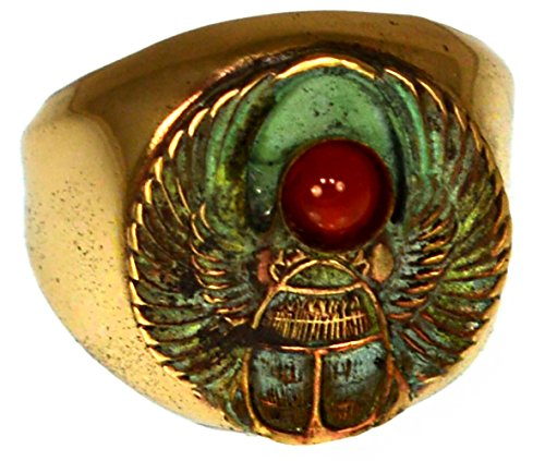 Patina Brass Egyptian Motif Scarab Ring - Carnelian (Egyptian Motif)