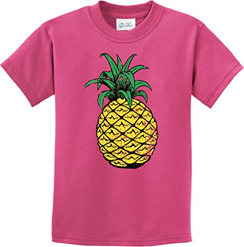 Kids Distressed Pineapple Youth T-Shirt, Sangria, Large
