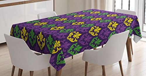 Ambesonne Mardi Gras Tablecloth, Antique Old Fashioned Motifs in Mardi Gras Holiday Colors Tile Pattern, Dining Room Kitchen Rectangular Table Cover, 60 W X 84 L Inches, Purple Green ()