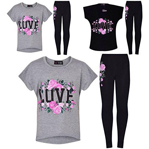 Girls Top Kids Love Print Trendy T Shirt Tops & Fashion Legging Set 7-13 Years