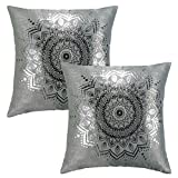 SUO AI TEXTILE Floral Metallic Print Suede Thick Pillow covers Decorative Soft Throw Pillowcase Square Cover for Home or Sofa (18 x 18 Inch 2 Pack Spa)
