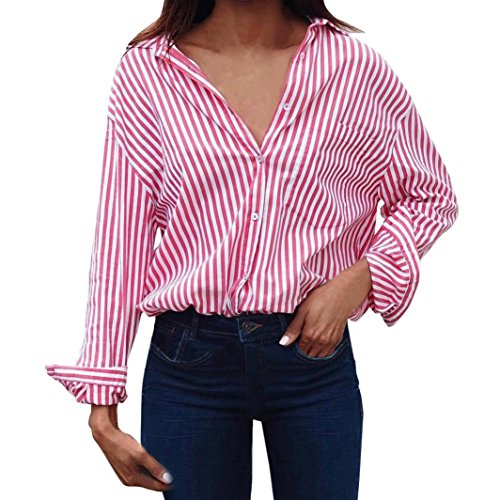 Mikey Store Women Summer Long Sleeve Striped Shirts Casual Button Down Tops