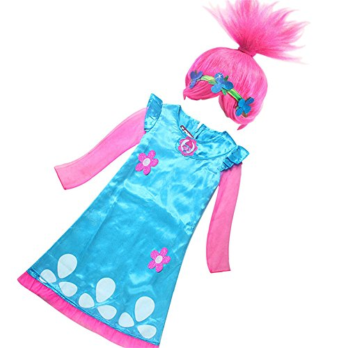 Halloween Troll Costumes (FSBBUT (TM) Trolls Girls Poppy Dress +Poppy Wig Set for Halloween Party Cosplay Costume (110, Poppy Dress(Long Sleeve)+Wig Set))