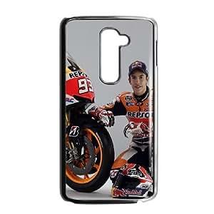 Back Skin Case Shell LG G2 Cell Phone Case Black Marc Marquez Jrueo Pattern Hard Case Cover