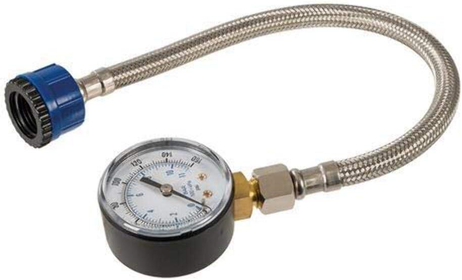 Silverline 482913 Manómetro con Tubo Flexible para Tuberías de Agua, 0-11 Bar (0-160 psi)