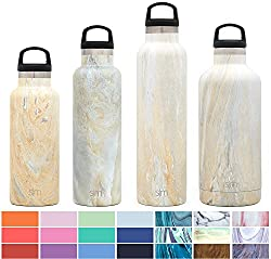 Simple Modern 32oz Ascent Water Bottle - Stainless Steel Hydro Swell Flask Whandle Lid - Metal Double Wall Vacuum Insulated Reusable Tumbler Aluminum 1 Liter Cold Leak Proof - Sandstone