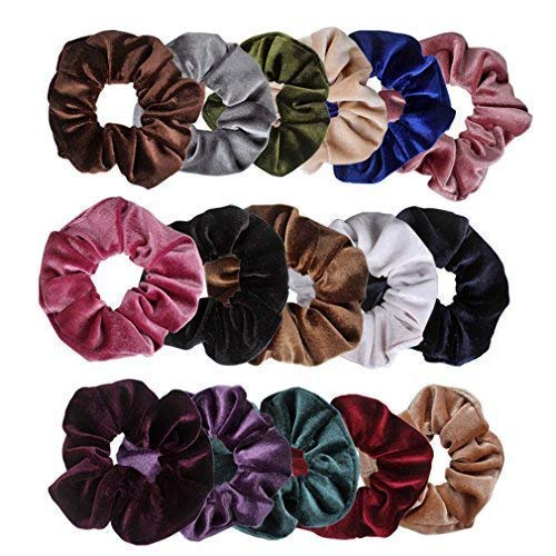 Ondder 16 Pcs Hair Scrunchies for Hair Velvet Blend Scrunchies Elastic Hair Bands Scrunchy Hair Ties Ropes Scrunchie Hair Bow Ponytail Holder Hair Accessories