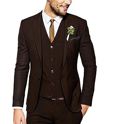 Men's Fashion Dark Brown Suit 3 Pieces Wedding Suits Peak Lapel Groom Tuxedos Casual Suit
