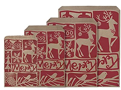 Paper Merchandise Bags - Woodcut Christmas Paper Merchandise Bags 3 Size Assortment (600 bags) - WRAPS-MBAWCC