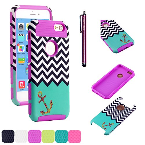 iPhone 5C Case MOUKOU(TM) Unique Hybrid Hard Armor Shell and Silicone Skin Chevron Pattern with Anchor Design Case for iphone5c(S-Purple)