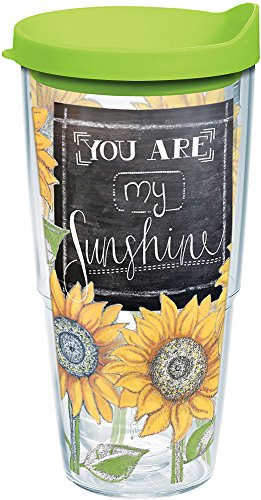 Tervis 1177247 Sunshine Sunflowers Tumbler with Wrap and Lime Green Lid 24oz, Clear
