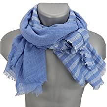 Ella Jonte mens scarf blue striped cotton casual-style