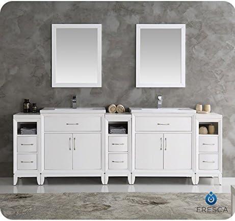Fresca Cambridge 96″ White Double Sink Traditional Bathroom Vanity w/Mirror
