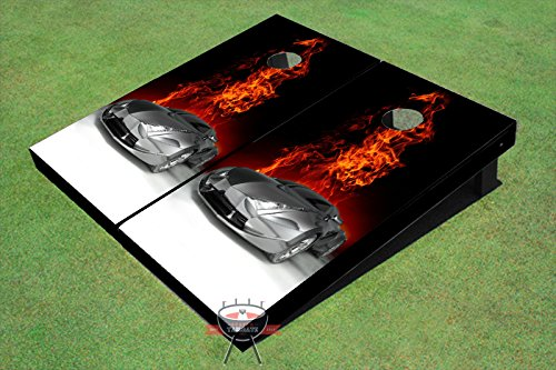 FutureシルバーCar On FireテーマCorn穴ボードCornhole Game Set B00O5BF604