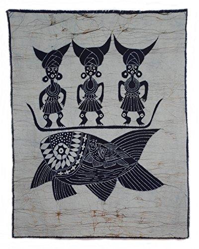 Chinese Batik (Fishermen - Chinese Folk Art Handmade Batik Painting Wall Decor Tapestry 34 x 27)