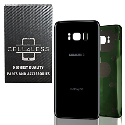 CELL4LESS Replacement Back Glass Cover Back Battery Door w/Pre-Installed Adhesive Samsung Galaxy S8 OEM - All Models G950 All Carriers- 2 Logo - OEM Replacement (Midnight Black) by Samsung