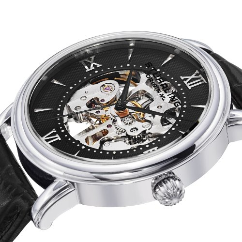 amazon com stuhrling original delphi 458 1s mens skeleton watch amazon com stuhrling original delphi 458 1s mens skeleton watch set mechanical stainless steel watch and set of black and brown leather watch straps
