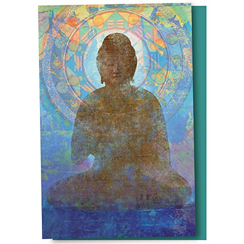 Buddha Greeting Cards - Tree-Free Greetings EcoNotes 12-Count Blue Buddha Blank Notecard Set With Envelopes, All Occasion, Inspirational Spiritual (FS56949)