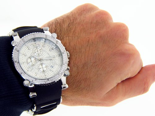 amazon com jojino real diamond watch chronograph mens silver case amazon com jojino real diamond watch chronograph mens silver case black rubber band mj 1130 jojino watches