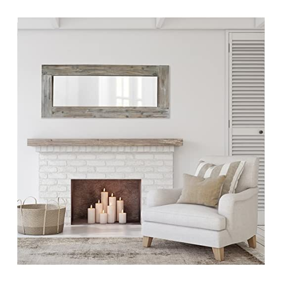 Barnyard Designs Long Decorative Wall Mirror, Rustic Distressed Unfinished Wood Frame, Vertical and Horizontal Hanging… - FULL LENGTH FLOOR OR HANGING WALL MIRROR - The generous size of this long, full length wood framed mirror makes it functional as well as decorative. Perfect to lean against the wall as a body mirror or mounted on the wall. This mirror comes with pre-installed wall mounting hooks. DECORATIVE ACCENT MIRROR - A large statement piece that will open up a room and create the illusion of space, this rustic barn wood leaning or wall mirror will add timeless appeal and style to your home. Perfect addition to an entryway, living room or bedroom. UNFINISHED WOOD DESIGN - Lend a vintage-inspired look to your home decor with this big standing farmhouse mirror. A rectangular unfinished natural-looking wood frame complements the rustic theme - mirrors-bedroom-decor, bedroom-decor, bedroom - 51TvsdLAhAL. SS570  -