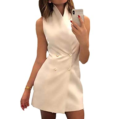 ca6c0801ac81 Vestido de Mujer - Doble Botonadura Blazer Vestido Cuello Alto Color ...