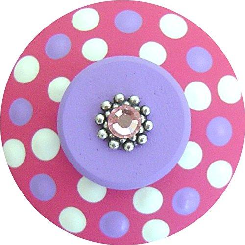 Hand Painted Jeweled Hot Pink Purple Polka Dots Decorative Dresser Furnitue Art Home Decor Wood Kids Drawer Knob Pull (Pink Polka Dots Knob)