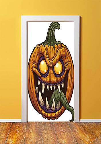 Halloween 3D Door Sticker Wall Decals Mural Wallpaper,Scary Pumpkin Monster Evil Character with Fangs Aggressive Cartoon,DIY Art Home Decor Poster Decoration 30.3x78.9481,Purple Orange Dark -