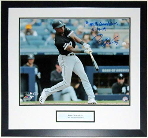 Tim Anderson Signed White Sox 16x20 Photo & 1st MLB Grand Slam 4/14/2019 Inscription - Beckett Authentication Services BAS COA Authenticated - Professionally Framed & - Photo White Chicago Sox 1