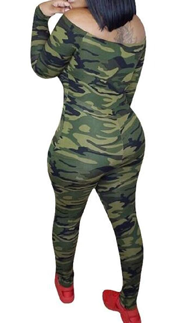 Wofupowga Womens Long Sleeve Fashion Camo Slim One Shoulder Long Rompers Jumpsuits