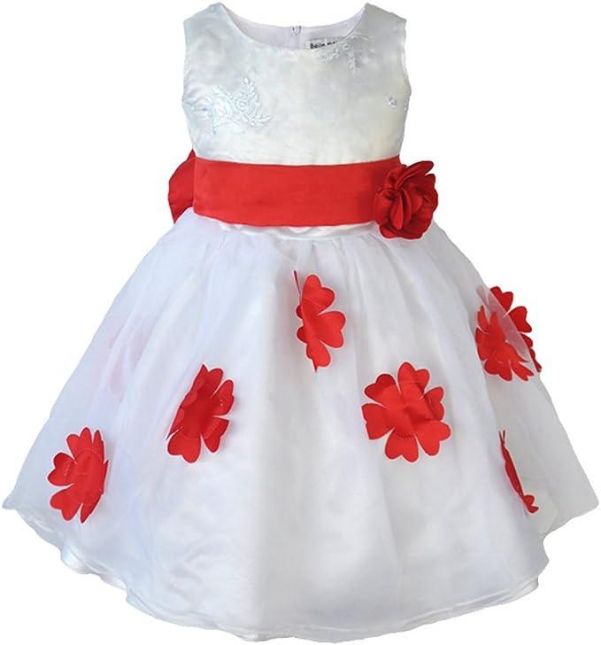 Amazon.com: Aile conejo Niñas Blanco Satinado tul vestidos ...