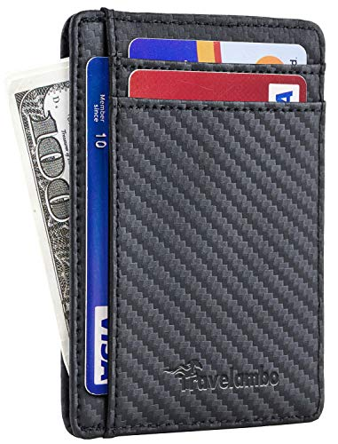 Travelambo RFID Front Pocket Minimalist Slim Wallet Genuine Leather Small Size (Carbon Fiber Texture Black)