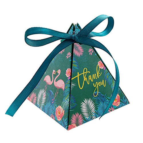 Triangle Gift Box,50pcs Flamingo Paper Boxes Wedding Party Favor Candy Decorative Box with ()