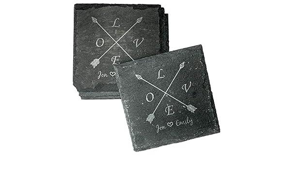 CS-custom We will engrave your design! Monogram Coaster Set,
