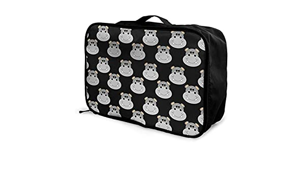 YueLJB Baby Hippo Pattern Lightweight Large Capacity Portable Luggage Bag Travel Duffel Bag Storage Carry Luggage Duffle Tote Bag
