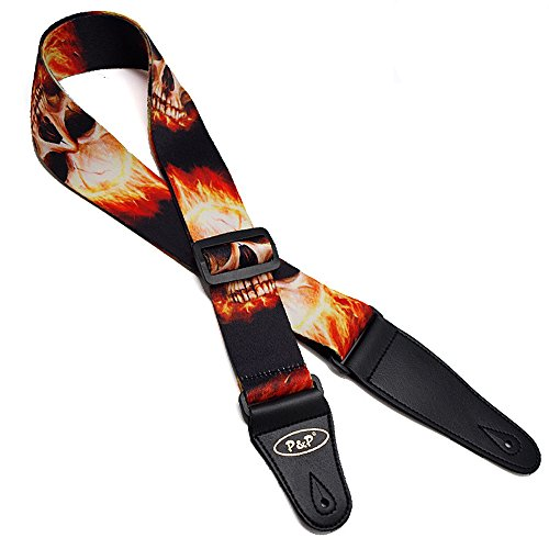 Flaming Skeleton (Art Attack Flaming Ghost Great Skull Of Fire Skeleton Electric Acoustic Ukulele Bass Guitar Strap)