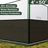 Cheap Coarbor 4′ x 50′ Privacy Fence Screen with Brass Grommets Heavy Duty 130GSM Pefect for Outdoor Back Yard Patio and Deck Brown