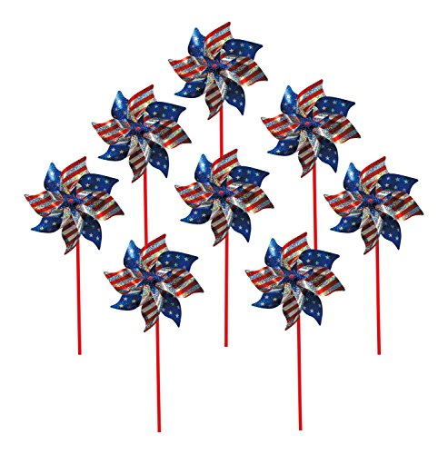 In the Breeze 2749 Stars and Stripes Pinwheel, 8-Inch, Stars & Stripes / 8 Pieces ()