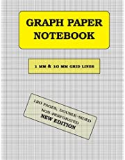 Graph Paper Notebook: 1 mm thin and 10 mm thicker light gray grid lines (metric, 120 pages): double-sided, non-perforated, perfect binding