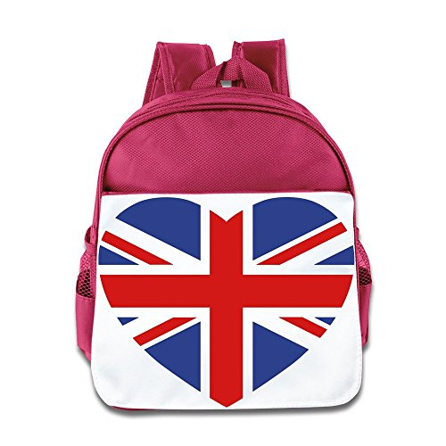 XJBD Custom Cool British Flag In Heart Shape Children Shoulders Bag For 1-6 Years Old Pink (Jack Daniels Backpack)