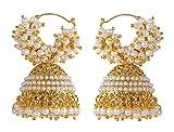 Bollywood Ethnic Fashion Gold Tone Faux Pearl Polki Bali Jhumki Earring Indian Traditional Jewelry