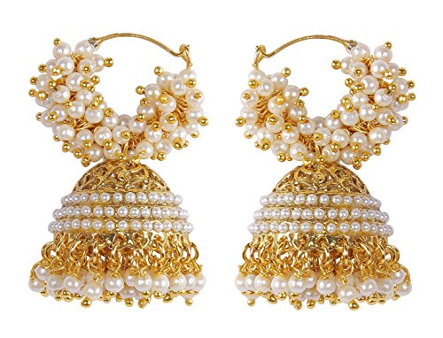 MUCH-MORE Bollywood Ethnic Fashion Gold Tone Faux Pearl Polki Bali Jhumki Earring Indian Traditional Jewelry For Women (6360) B