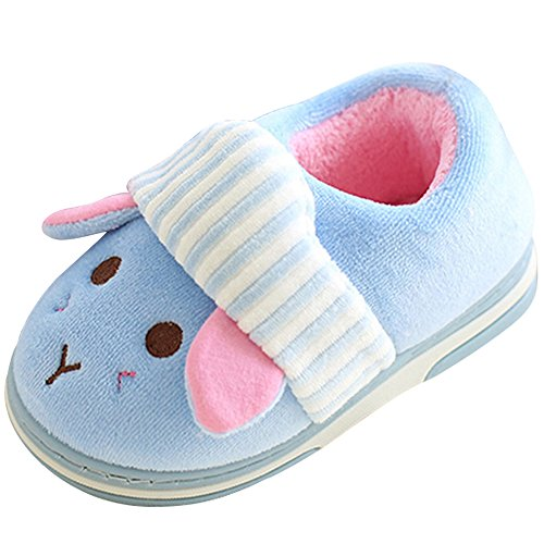 SITAILE Cute Home Shoes, Kids Fur Lined Indoor House Slippers Warm Winter Home Slippers for Boys Girls, Blue-02 20