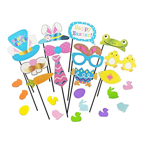 Easter Party Photo Booth Props Decoration Sticks and Pastel Foam Stickers Kit for Kids and Adults (24 total - Happy Sticker Bunny Measures