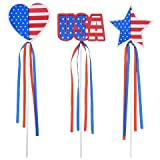 American Patriotic USA Flag United States of America Patriotic Set of 3 (12 COUNT) Wands with Foam Shapes and Tassels