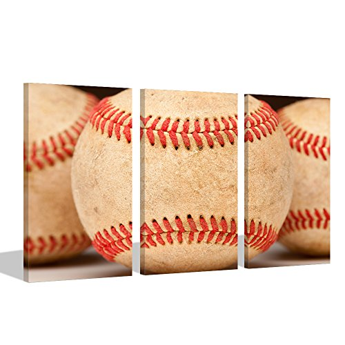 Visual Art Decor American Sports Poster Close Up of Aged Vintage Red Baseball Seams Canvas Wall Art Picture Prints Home Decor Wall Art Kids Sports Game Room Decoration