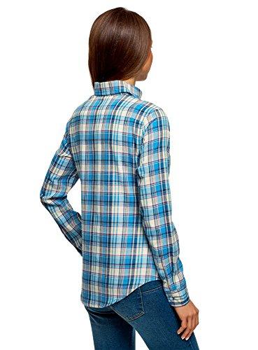 Broderie Ample Bleu oodji 7550c avec Ultra Chemise Femme HXwfP