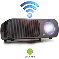 Video Projector with Android Portable LED Projector Mini Home Theater Supports HD 1080p with Multimedia Input USB HDMI AV VGA Black